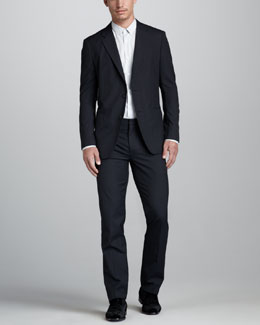 Theory Kris Tonal-Stripe Blazer, Mini-Dot Woven Shirt & Marlo Tonal-Stripe Pants