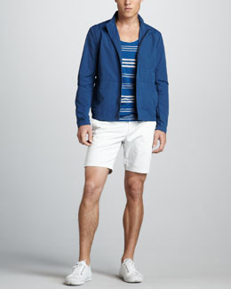 Theory Kiyle Nylon Zip Jacket, Striped Tank & Zaine Slim Shorts