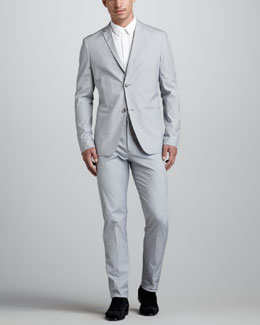 Theory Sherwin Fine-Stripe Cotton Suit & Teric Two-Pocket Sport Shirt