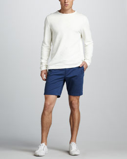 Theory Slub-Knit Sweatshirt & Zaine Slim Shorts