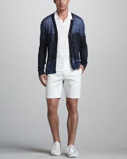Theory Colorblock Linen-Blend Cardigan, Willem Slub Polo & Zaine Slim Shorts
