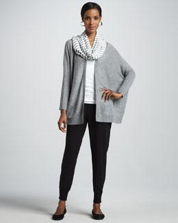 Eileen Fisher Speckled Origami Cardigan, Tank, Striped Parallelogram Scarf & French Terry Ankle Pants