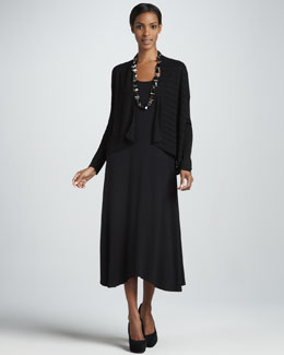 Eileen Fisher Boxy Linear Cardigan & Sleeveless Jersey Dress