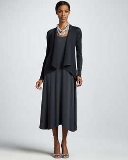 Eileen Fisher Shawl-Collar Cardigan & Sleeveless Jersey Dress