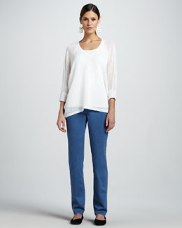 Eileen Fisher Linen Mesh V-Neck Top, Organic-Cotton Tank & Straight-Leg Jeans, Petite