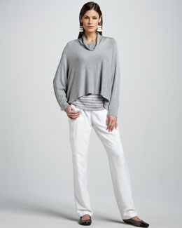 Eileen Fisher Funnel-Neck Jersey Top, Sheer-Striped Knit Top & Cargo Pants, Women's