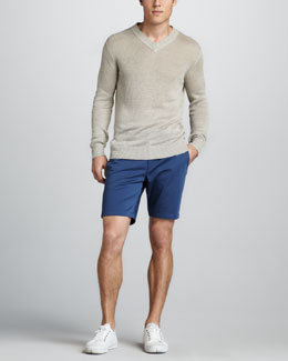 Theory Aronn Linen V-Neck Sweater & Zaine Slim Shorts