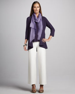 Eileen Fisher Wool Cardigan, Silk Jersey Tank, Ombre Wool Wrap & Wide-Leg Crepe Pants, Petite