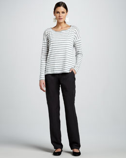 Eileen Fisher Striped Boat-Neck Slub Top, Organic-Top & Cargo Pants, Petite