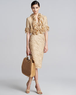 Donna Karan Hand-Woven Tweed Jacket, Midi Skirt & Cross-Back Bodysuit