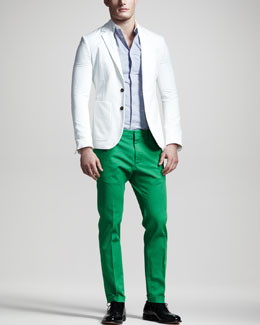 DSquared2 Chic Summer Blazer, Contrast-Collar Check Shirt & Slim Twill Pants