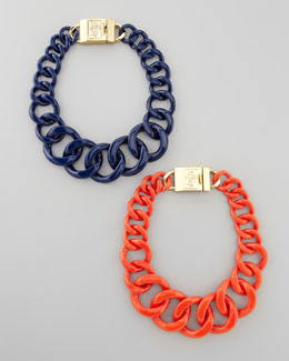 Tory Burch Logo-Clasp Resin Chain Necklace