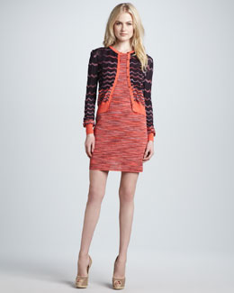 M Missoni Two-Tone Wave-Stripe Cardigan & Space-Dye Tank Dress