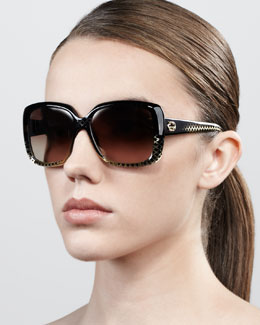 Gucci Oversized Square Diamond-Pattern Sunglasses