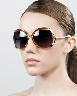 Jimmy Choo Beatrix Open-Temple Round Sunglasses