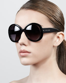 Marc Jacobs Thick-Rim Round Sunglasses