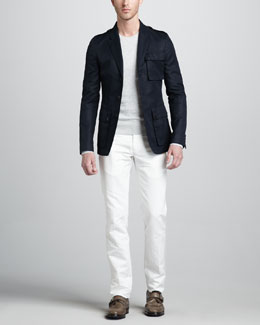 Belstaff Bradfield Military Blazer, Newbridge Crewneck Moto Sweater & Lincoln Flap-Pocket Pants