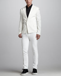 Lanvin Peak-Lapel Snap Jacket, Sheer Stitched Shirt & Skinny Runway Pants