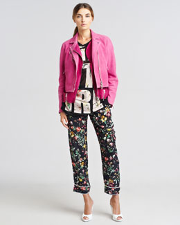 3.1 Phillip Lim Trompe l'Oeil Layered Biker Jacket, Get It Girl Chiffon T-Shirt & Botanical-Print Pajama-Style Pants