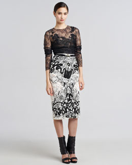 Oscar de la Renta Chantilly Lace Blouse & Embroidered Guipure Skirt