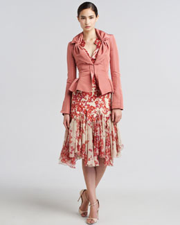 Zac Posen Fitted Taffeta Blazer & Hibiscus-Print Flared Dress