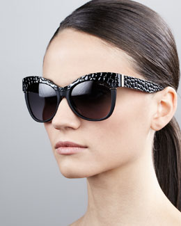 Roberto Cavalli Pebble-Textured Cat-Eye Sunglasses