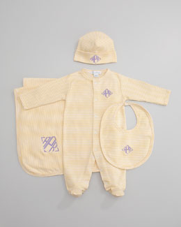Kissy Kissy Striped Footie, Hat, Bib & Blanket, Yellow