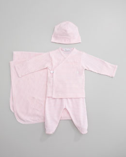 Kissy Kissy Striped Crossbody Tee, Footed Pants, Blanket & Hat, Light Pink