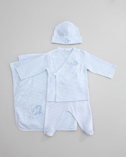 Kissy Kissy Striped Crossbody Tee, Footed Pants, Blanket & Hat, Light Blue