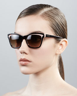 Prada Two-Tone Retro Rectangle Sunglasses
