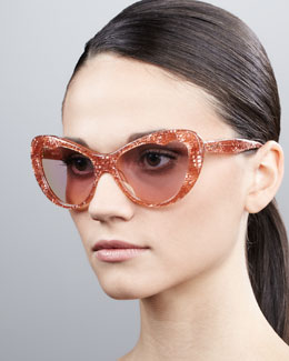 Miu Miu Glitter Cat-Eye Sunglasses