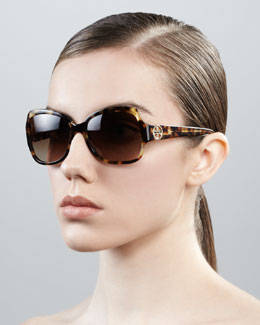 Tory Burch Logo-Temple Rectangle Sunglasses