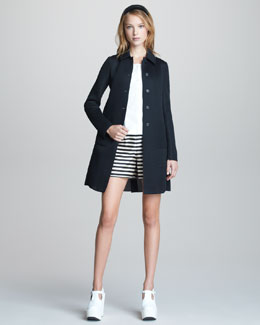 Jil Sander Navy Sporty Mesh-Weave City Coat, Sleeveless Button-Front Top, Striped Shorts & Leather Headband
