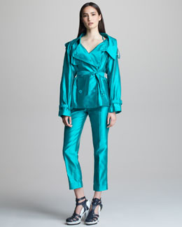 Jean Paul Gaultier Double-Breasted Shantung Jacket & Cropped Pants with Cuffs