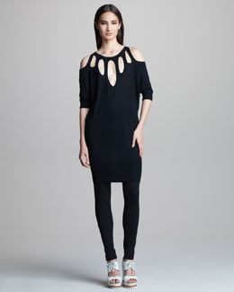 Jean Paul Gaultier Cutout Half-Sleeve Tunic & Melange Jersey Leggings