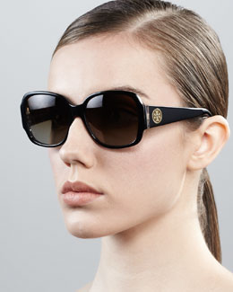 Tory Burch Logo-Temple Rounded Rectangle Sunglasses