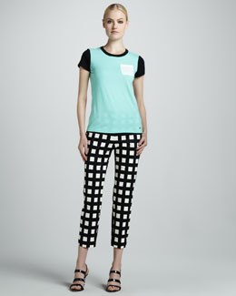 kate spade new york Colorblock Pocket Tee & Davis Check Capris
