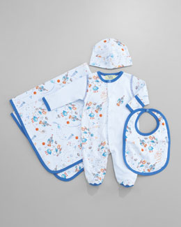 Kissy Kissy Outer Space Footie, Bib, Blanket & Hat