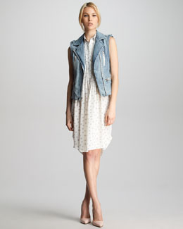 Rebecca Taylor Denim Zipper Vest & Stud-Collar Dotted Dress