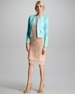 Rebecca Taylor Snake-Embossed Leather Jacket & Studded Camisole Dress