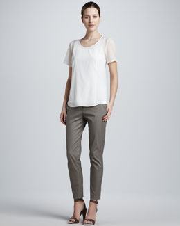 DKNY Scoop-Neck Stretch-Silk Blouse & Flat Front Skinny Pants