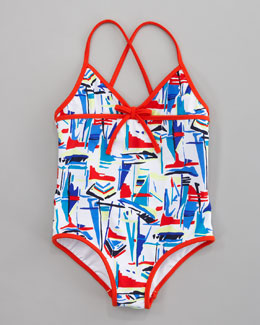 Milly Minis Sailboat Crisscross Swimsuit