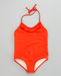 Milly Minis Neon Halter One-Piece Swimsuit, Persimmon