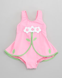 Florence Eiseman Pink Flower Skirted One-Piece Swimsuit