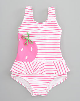 Florence Eiseman Berrylicious Striped Swimsuit, Pink/White