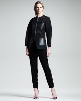 Alexander Wang Leather-Panel Zip Jacket & Tuxedo-Stripe Track Pants