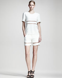 Alexander Wang Sheer-Stripe Tee & Shorts