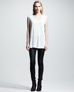 T by Alexander Wang Classic Muscle Tee & Stretch-Leather Skinny Pants