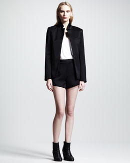T by Alexander Wang Shiny Crepe Blazer & Piped Shorts
