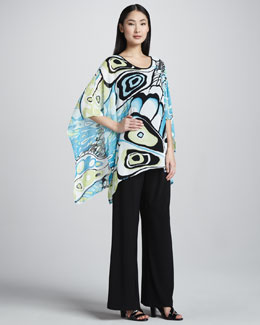 Caroline Rose Butterfly-Print Georgette Caftan & Wide-Leg Stretch Pants, Petite